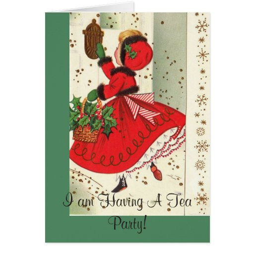 Christmas Tea Party Ideas: Holiday Christmas Tea Party Invitation Greeting Card