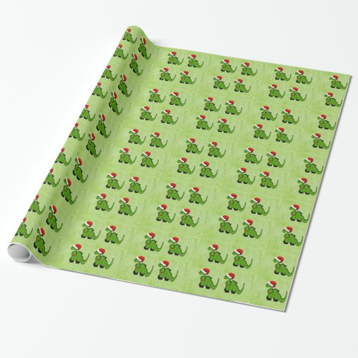 Holiday Green Dinosaur Wrapping Paper