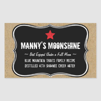 Holiday Home Brew or Moonshine Gift Label Rectangular Sticker