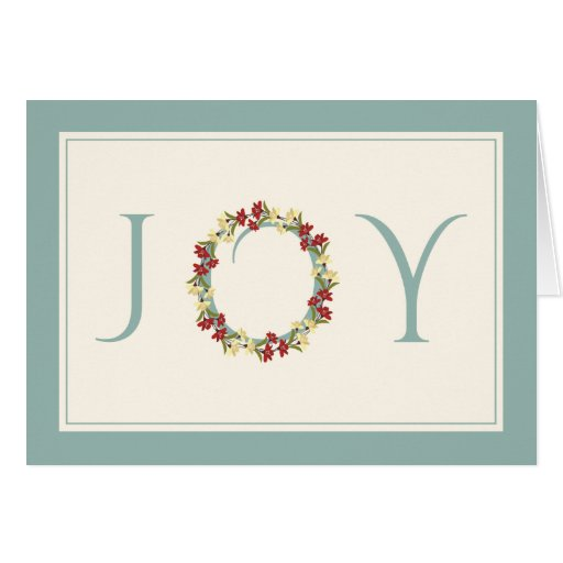 Holiday Joy Floral Wreath Non-Religious Greetings Card