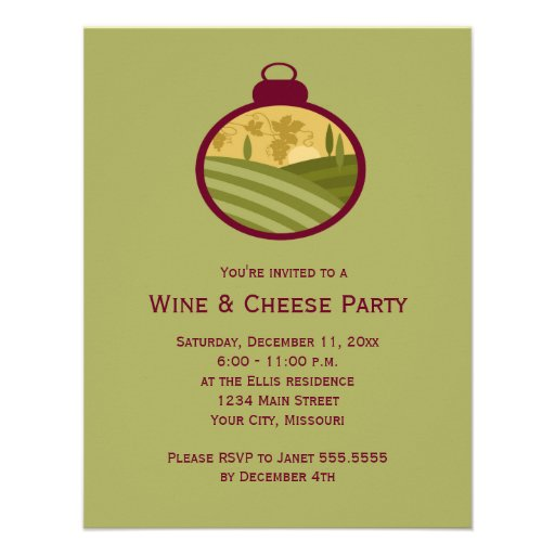 Holiday Wine and Cheese Party Invitations | Zazzle