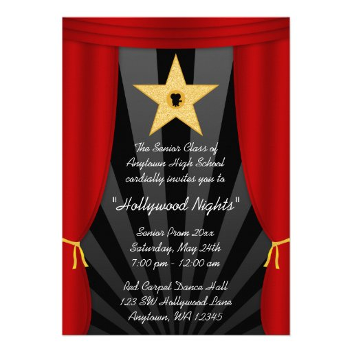 Personalized Red Carpet Party Invitations