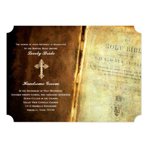 Catholic Wedding Invitations: Holy Bible Gold Cross Catholic Wedding Invitation