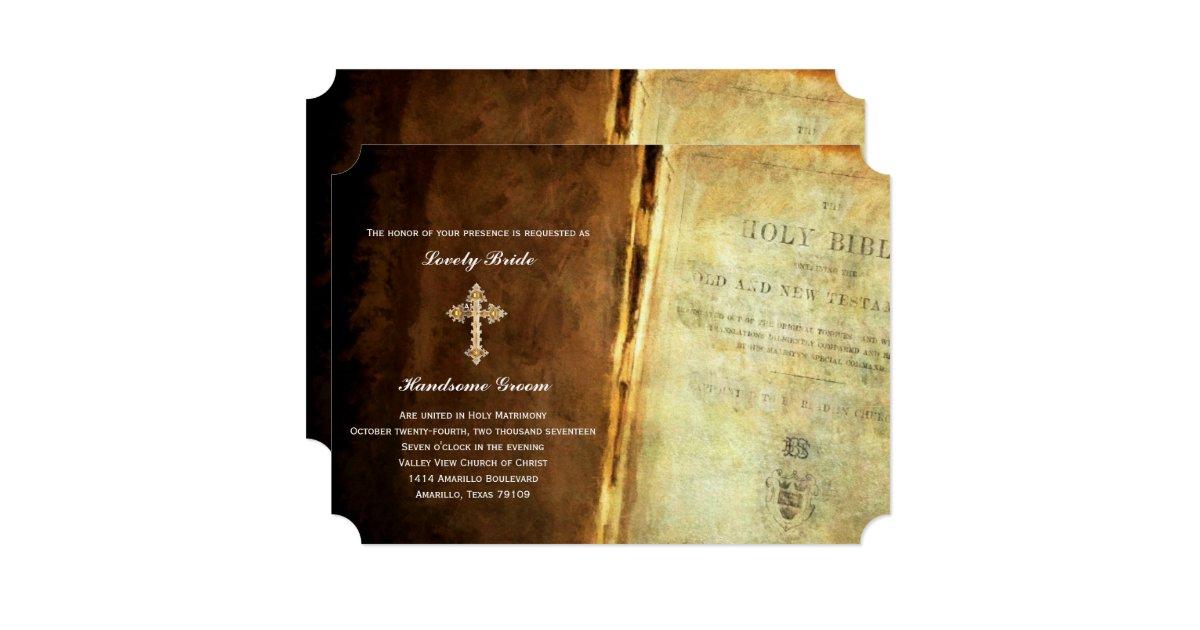 Holy Bible Gold Cross Christian Wedding Invitation Zazzle
