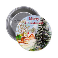 """Home for Christmas"" Snowy Winter Scene Watercolor Buttons"