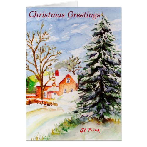 Home for Christmas Snowy Winter Scene Watercolor Greeting Card