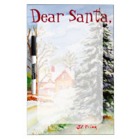 "Home for Christmas"" Snowy Winter Scene Watercolor Dry Erase Board"