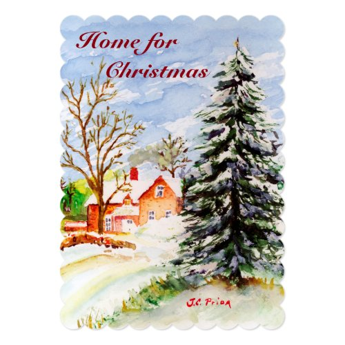 Home for Christmas Snowy Winter Scene Watercolor 5x7 Paper Invitation Card