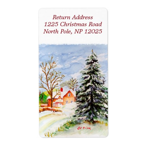 Home for Christmas Snowy Winter Scene Watercolor Shipping Label