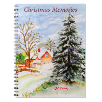 """Home for Christmas"" Snowy Winter Scene Watercolor Spiral Notebook"