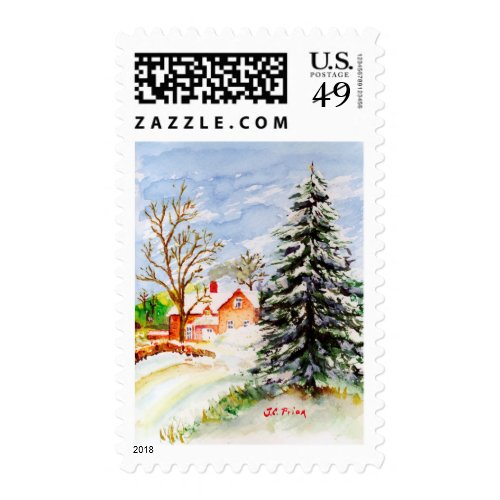 Home for Christmas Snowy Winter Scene Watercolor Postage Stamps