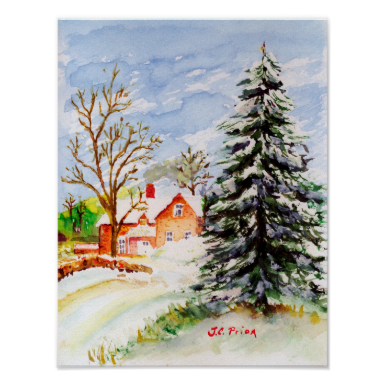 """Home for Christmas"" Snowy Winter Scene Watercolor Print"