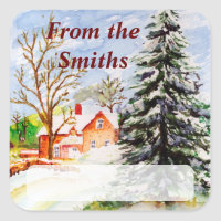 """Home for Christmas"" Snowy Winter Scene Watercolor Sticker"