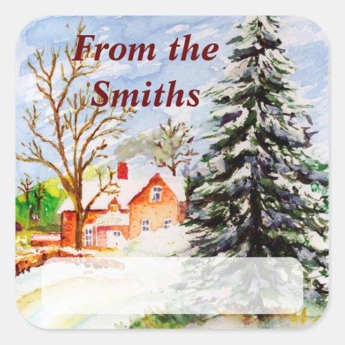 Home for Christmas Snowy Winter Scene Watercolor Square Sticker