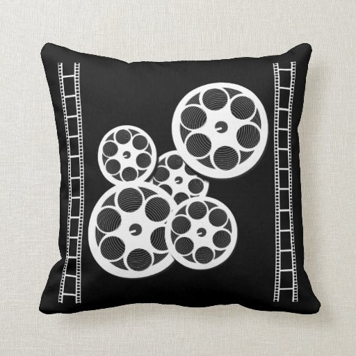 Lacefield Designs Pillows Being Filmed By The Press In The: Home Movie Theater Throw Pillow With Film Reels