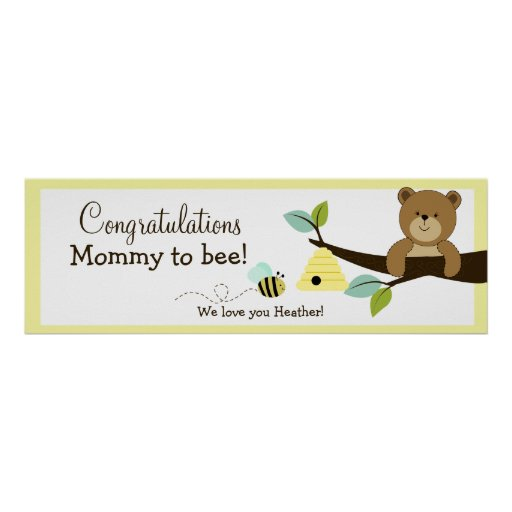 Baby Shower Custom Banners: Honey Bear Custom Baby Shower Banner Print