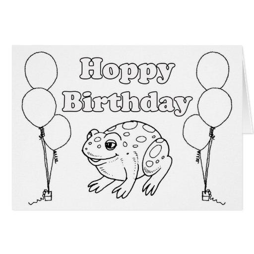 Hoppy BIrthday Frog Coloring Book Card