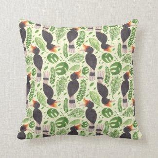 Hornbill the Tropical Bird Throw Pillows