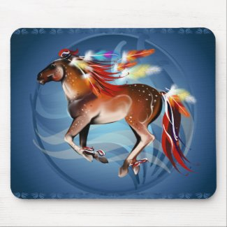 Horse N Bright Feathers Framed Mousepad