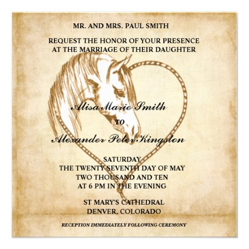 Western Wedding Invitations: Horse Western Wedding Invitations Announcements 5.25