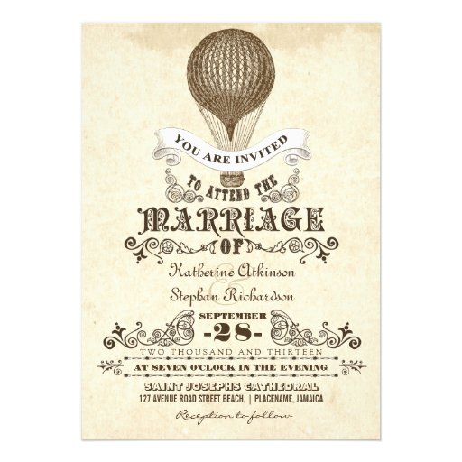 "Hot Air Balloon Vintage Wedding Invitations 5"" X 7"