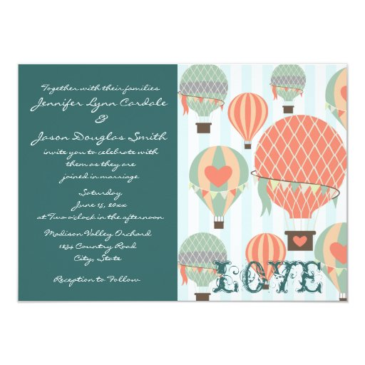 Hot Air Balloons With Hearts Wedding Invitations