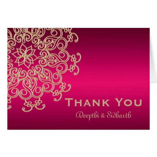 HOT PINK AND GOLD INDIAN STYLE WEDDING THANK YOU