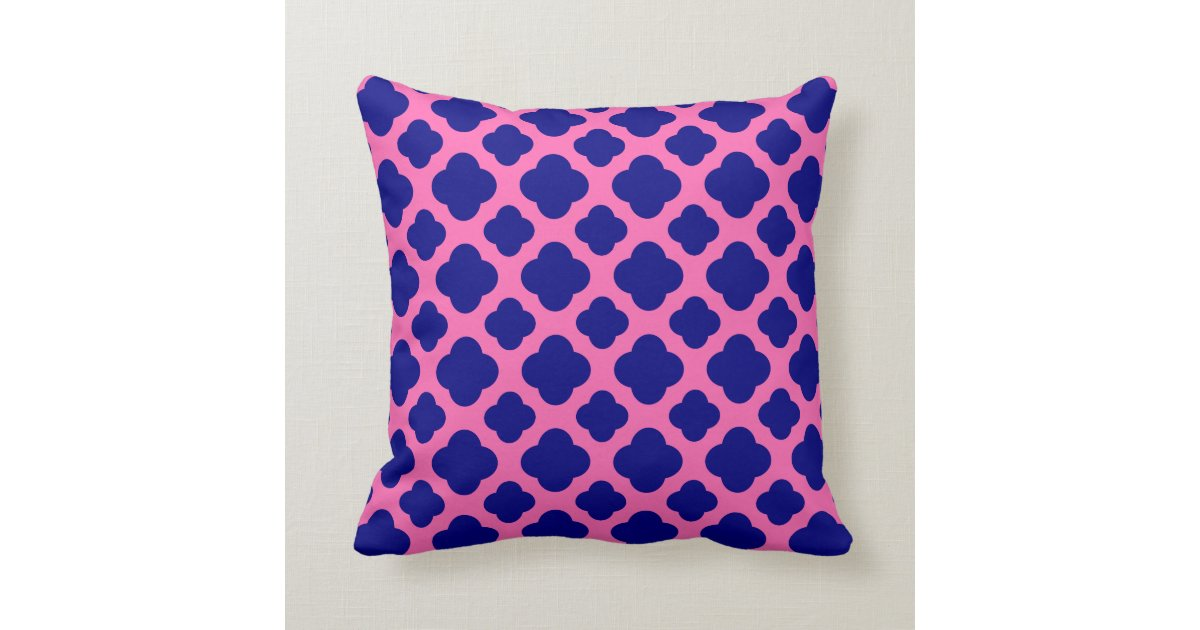Navy And Pink Decorative Pillows: Hot Pink And Navy Blue Quatrefoil Pattern Throw Pillow