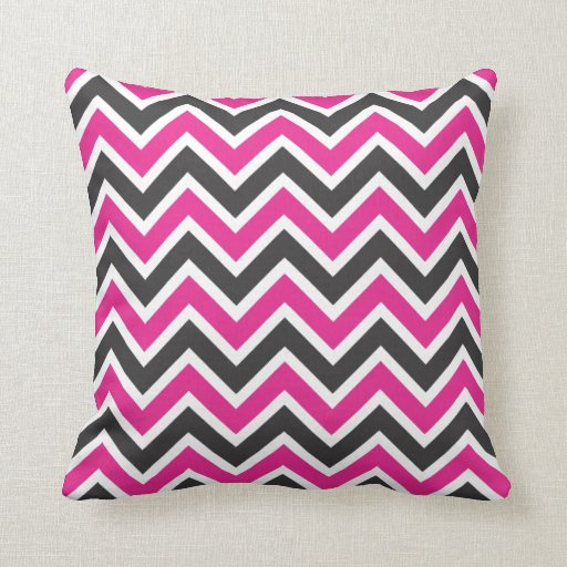 Hot Pink Black And White Chevrons Throw Pillow Zazzle