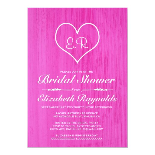 "Hot Pink Gerbera Daisy White Wedding Invitation 5 X 7: Hot Pink Country Bridal Shower Invitations 5"" X 7"