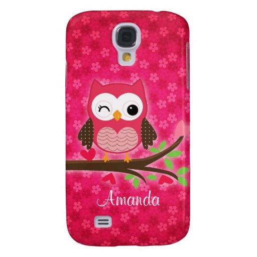 Hot Pink Cute Owl Girly Samsung Galaxy S4 Case | Zazzle