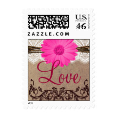 Custom Wedding Postage Stamps - Rustic Country Wedding Invitations
