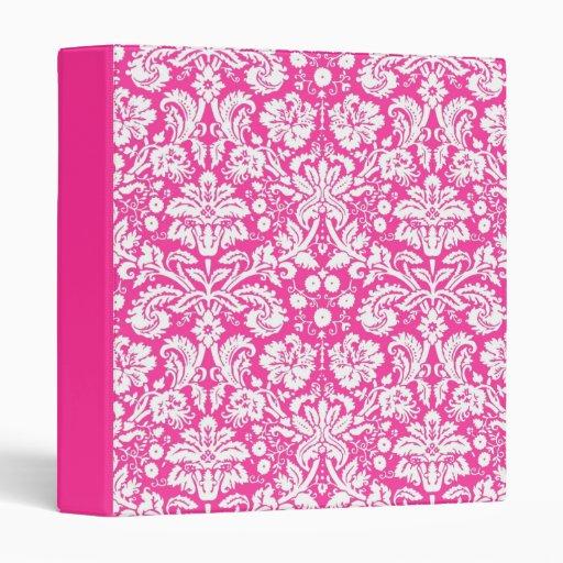 Hot Pink Damask Pattern 3 Ring Binder