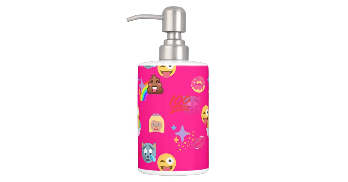 Hot Pink Emoji Bathroom Toothbrush Bath Set Zazzle
