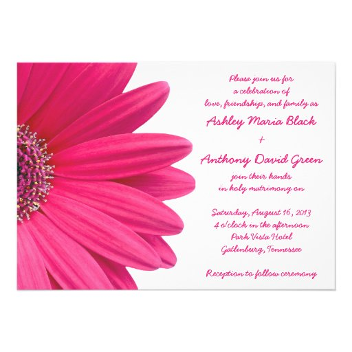 "White Daisy Wedding Invitation: Hot Pink Gerbera Daisy White Wedding Invitation 5"" X 7"
