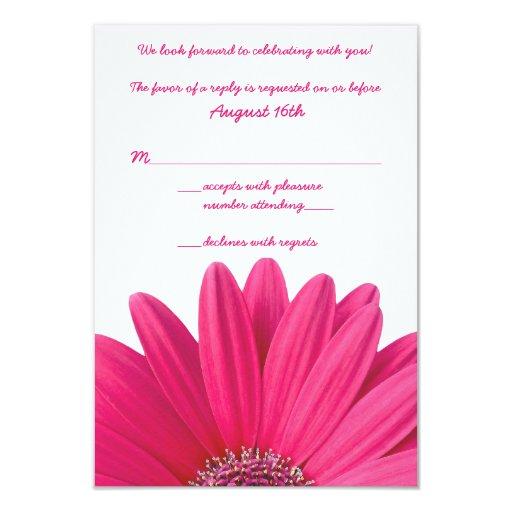 Hot Pink Gerbera Daisy White Wedding Invitation 5 X 7: Hot Pink Gerbera Daisy White Wedding RSVP Card