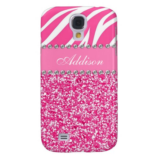 Hot Pink Glitter Zebra Print Rhinestone Girly Case Samsung ...
