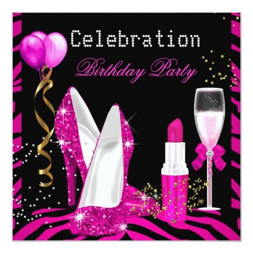 Hot Pink Lipstick Glitter Zebra Birthday Party Invitation