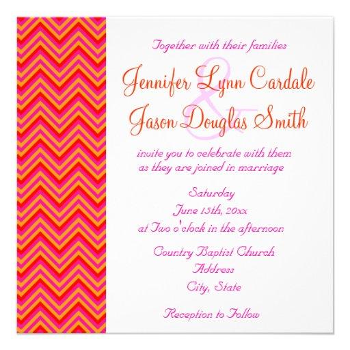 "Pink Orange Wedding Invitations: Hot Pink Orange Chevron Wedding Invitation 5.25"" Square"