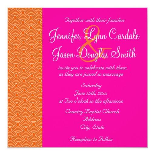 Pink Orange Wedding Invitations: Hot Pink Orange Scallops Design Wedding Invitation