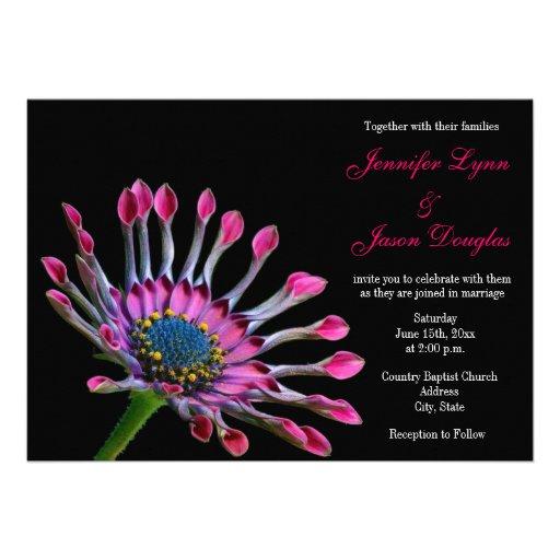 "Hot Pink Gerbera Daisy White Wedding Invitation 5 X 7: Hot Pink Purple African Daisy Wedding Invitations 5"" X 7"