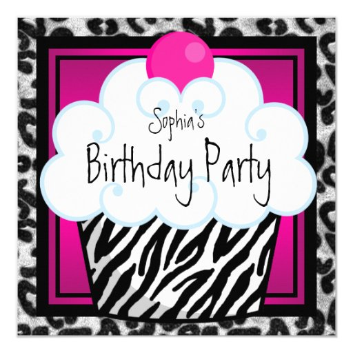 Pink Zebra Print Girls 1st Birthday Invitation: Hot Pink Zebra Girls Cupcake Birthday Party Card