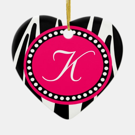 Hot Pink Zebra Print Heart Christmas Ornament | Zazzle