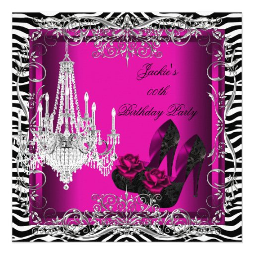 Hot Pink Zebra Print Party Birthday Shoes 5.25x5.25 Square