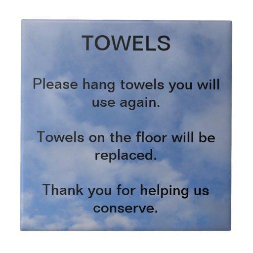 Hotel Towel Sign Tiles Zazzle