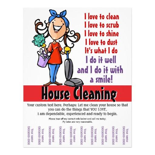 House cleaning custom promotional 8 5 x 11 flyer zazzle - Design your own house online free ...