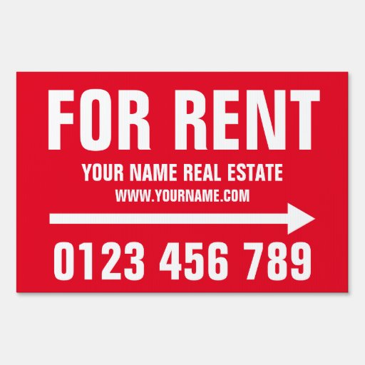 Real Estate For Rent: House For Rent Real Estate Yard Sign With Arrow