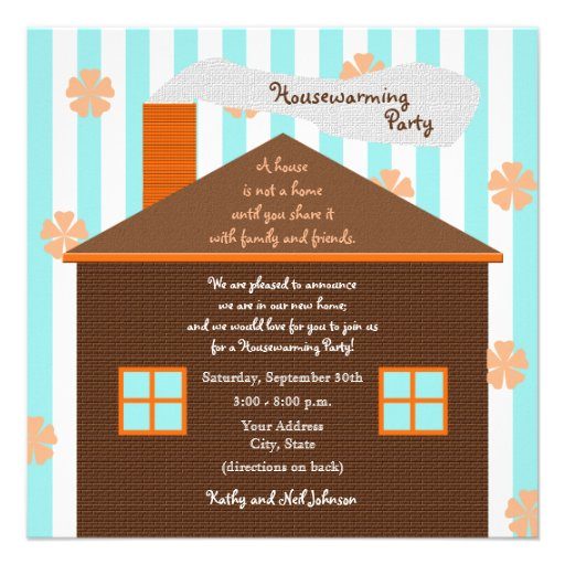 """housewarming party invitation  brown house 525"""" square"""