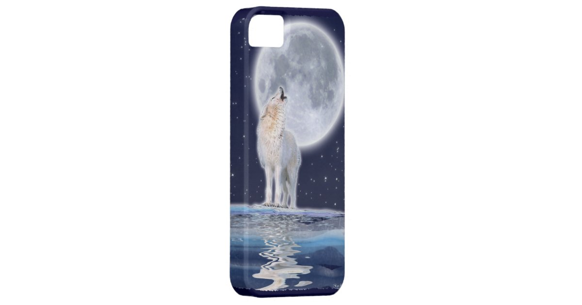 Howling Arctic Wolf & Full Moon iPhone 5 Case | Zazzle