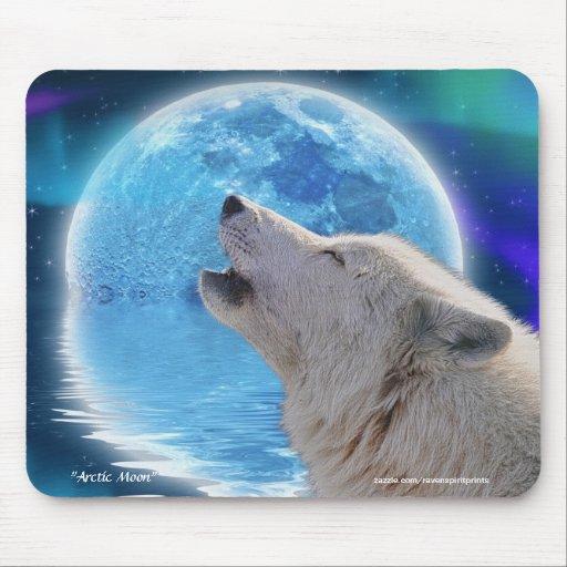 Howling Arctic Wolf & Moon Fantasy Art Mousepad | Zazzle